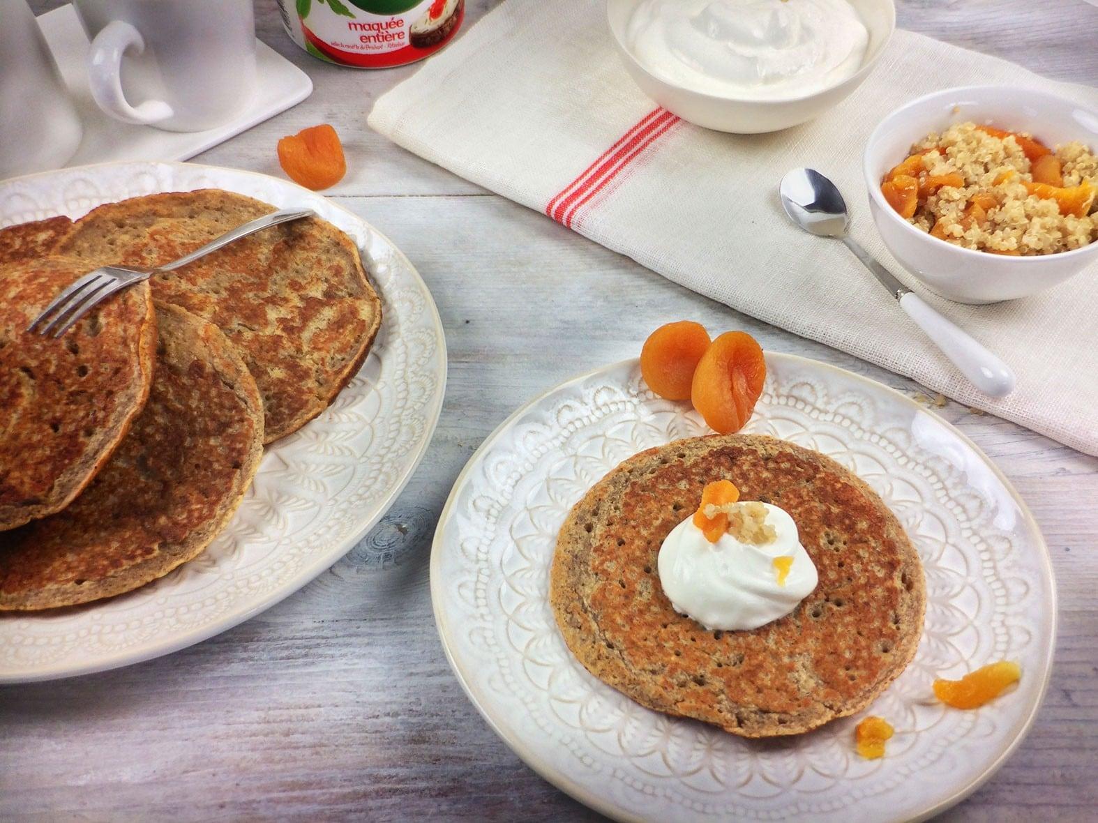 Véritables pancakes fitness au quinoa et Campina