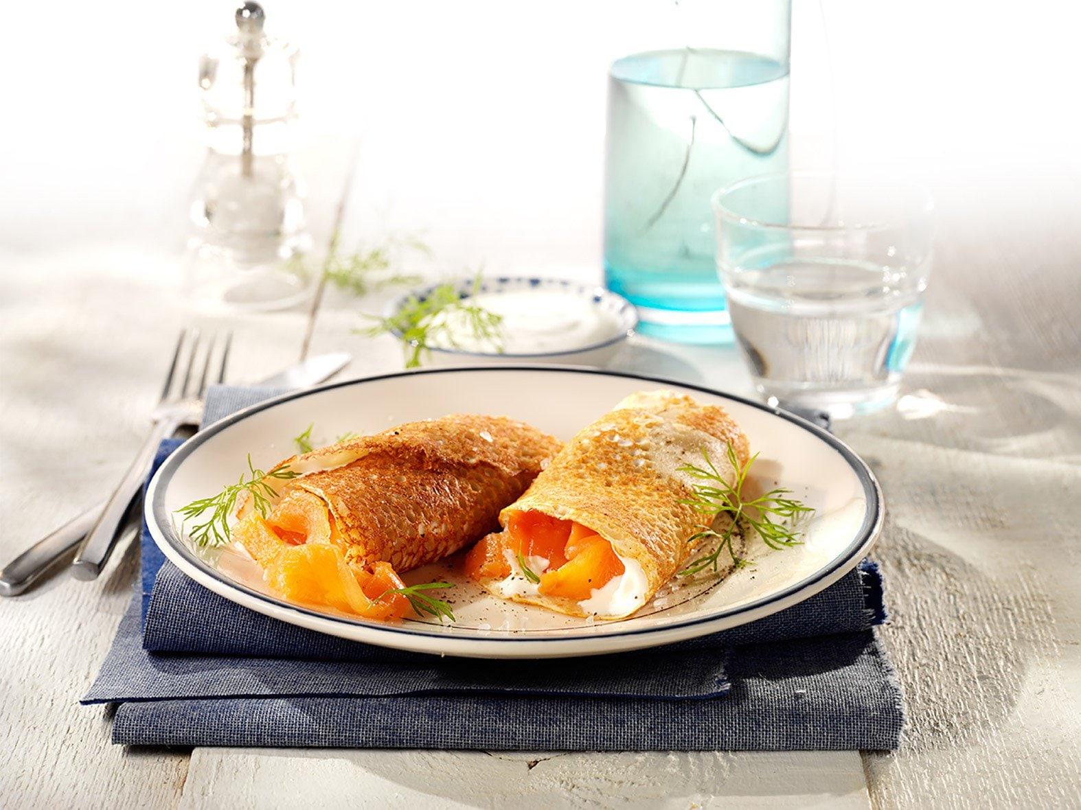 Crêpes de sarrasin au saumon fumé