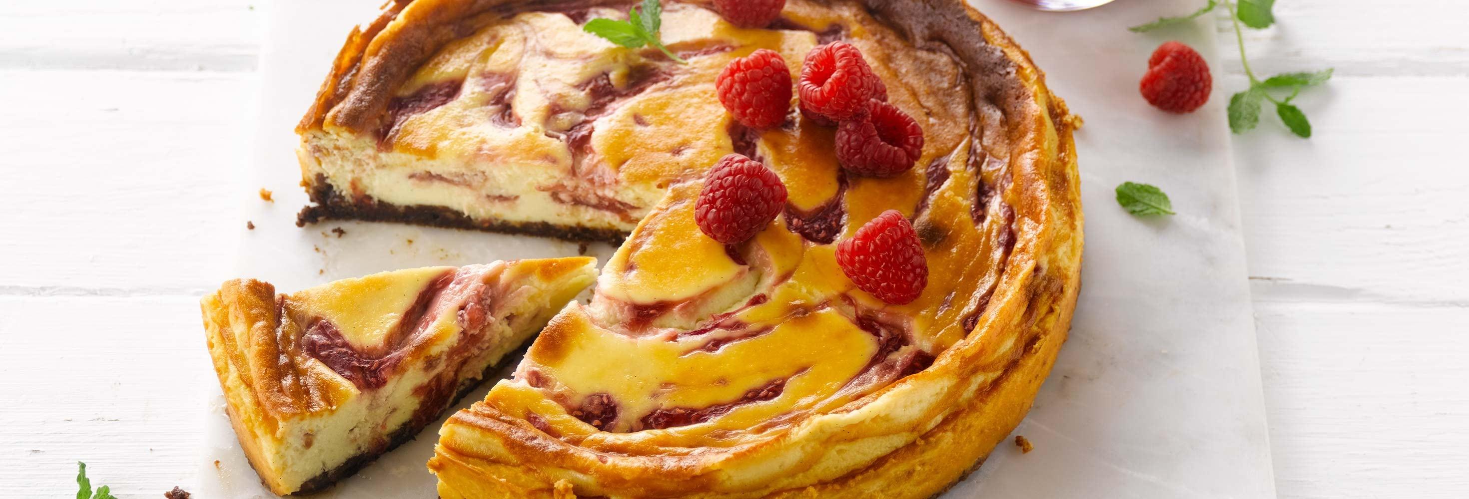 Cheese-cake aux framboises et chocolat blanc